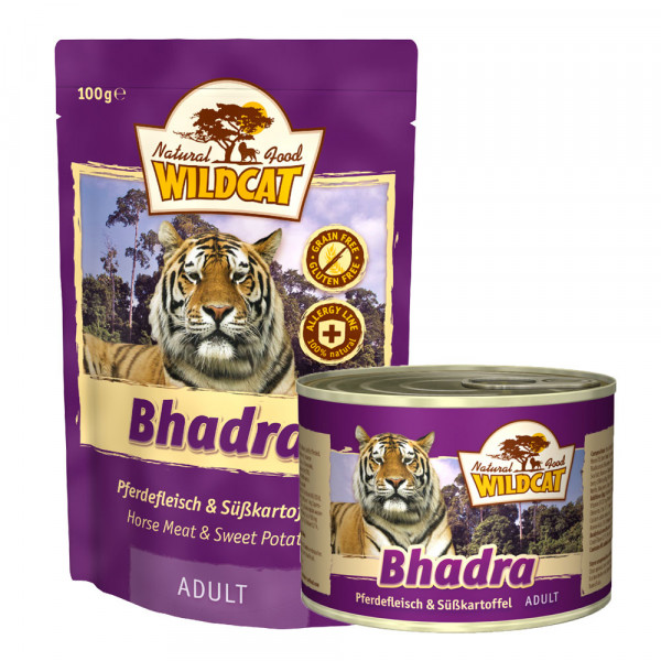 Wildcat Katzenfutter Bhadra mit Pferd und Süßkartoffel 100g Pouch
