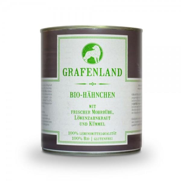 Grafenland Bio Hähnchen mit frischer Mohrrübe, Löwenzahnkraut und Kümmel