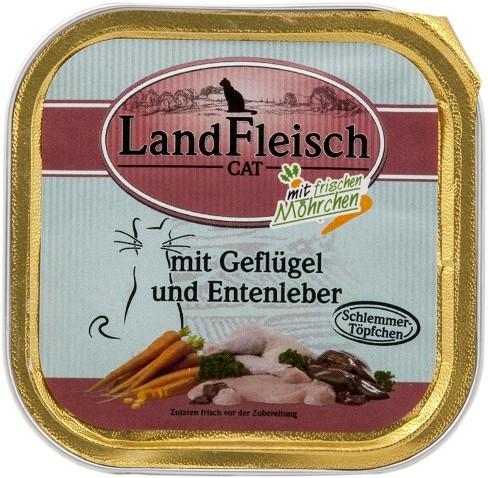 Landfleisch Cat - Schlemmertöpfchen Geflügel & Entenleber 10 x 100g