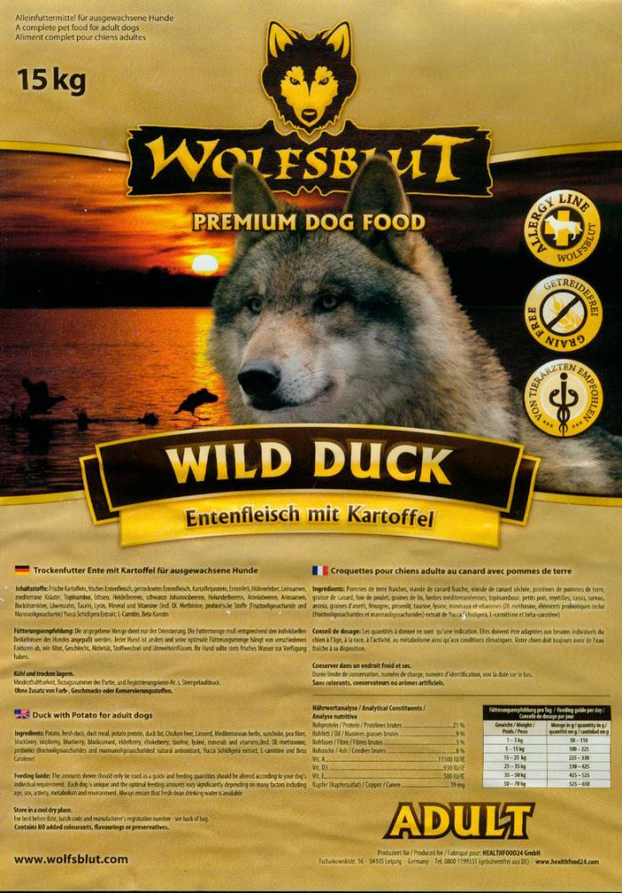 wolfsblut hundefutter wild duck g nstig online bestellen im shop futtershop24 hundefutter und. Black Bedroom Furniture Sets. Home Design Ideas