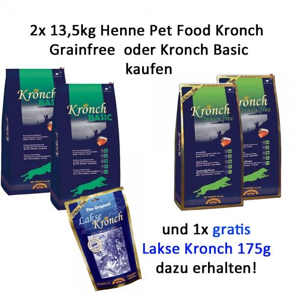 Henne Pet Food Kronch 2x 13,5kg + Lachs Snack 175g gratis Aktion