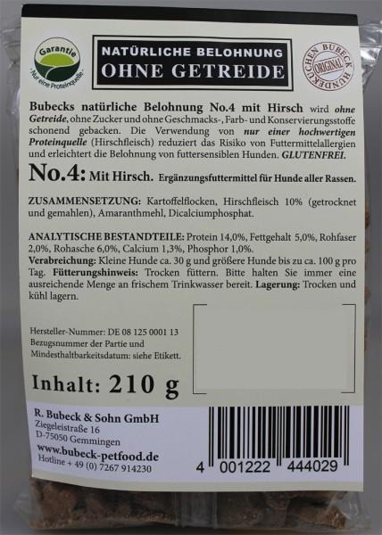 Bubeck getreidefreie Belohung Nr. 4 mit Hirsch 210g