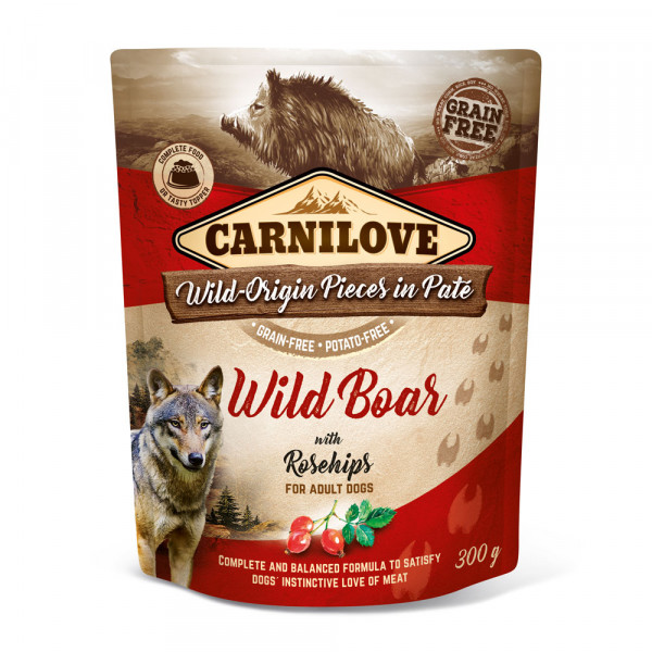 Carnilove Nassfutter Pate Wild Boar with Rosehips 300g