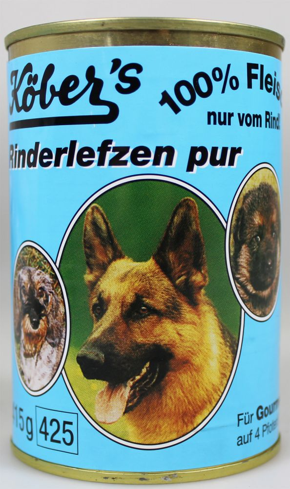 k bers hundefutter rinderlefzen pur 400g dosenfleisch f r hunde futtershop24 hundefutter und. Black Bedroom Furniture Sets. Home Design Ideas