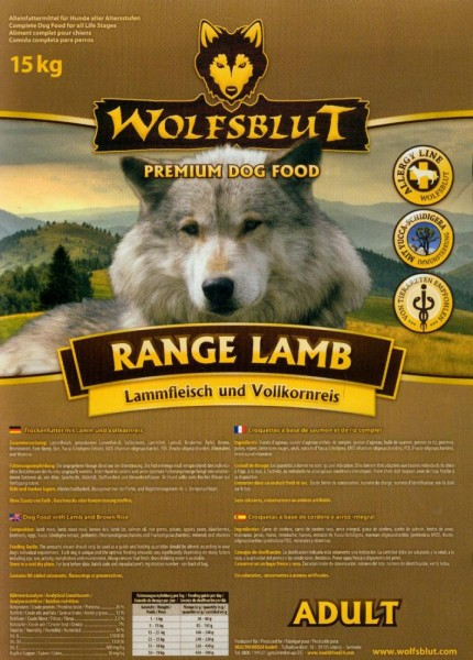 Wolfsblut Range Lamb Puppy mit Lamm und Reis 15kg