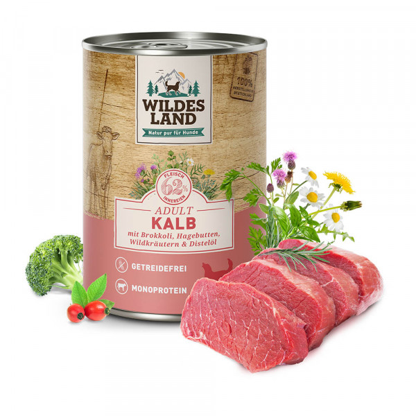 Wildes Land Classic Adult Nassfutter Kalb mit Brokkoli