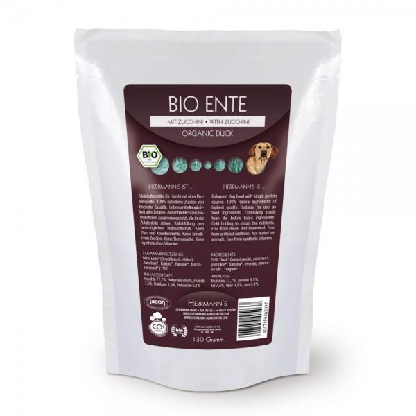 Herrmans Bio Ente Menü mit Zucchini und Kürbis 130g