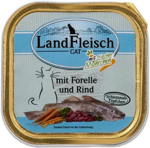 Landfleisch Cat - Schlemmertöpfchen Forelle & Rind 10 x 100g